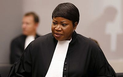 Prosecutor Fatou Bensouda in the courtroom of the International Criminal Court (ICC), during the closing statements of the trial of Bosco Ntaganda, a Congo militia leader, in The Hague, Netherlands, August 28, 2018. (Bas Czerwinski/Pool via AP)