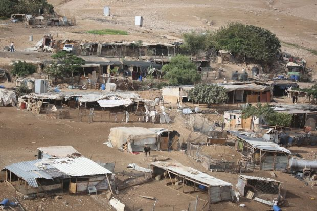 The Bedouin village of Khan al-Ahmar is seen after Israeli authorities decided to postpone its demolition Photograph: Issam Rimawi/Anadolu Agency/Getty