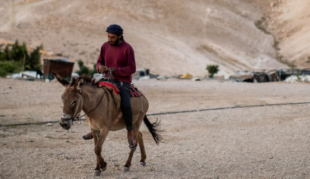 A Bedouin man rides a donkey in Khan al-Ahmar, May 3, 2020.Credit: Emil Salman