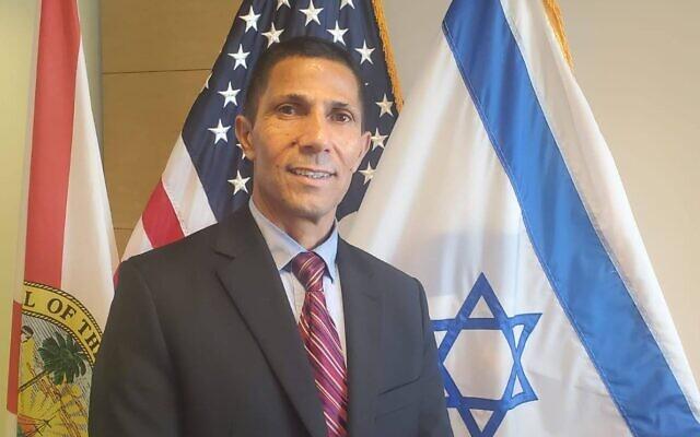 Ishmael Khaldi at the Israeli consulate in Miami. (Courtesy, Israeli Consulate)