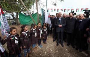 Palestinian prime minister Rami Hamdallahd visits a primary school in the Palestinian Bedouin village of Khan al-Ahmar in the Israeli-occupied West Bank