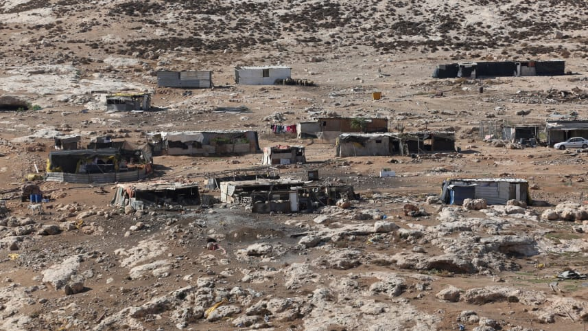 A Bedouin village in Nahal Og in the West Bank, where Bennett announced a new nature reserve would be built.Credit: Emil Salman