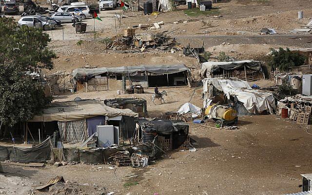 The West Bank Bedouin community of Khan al-Ahmar, October 21, 2018. (AP/Majdi Mohammed)