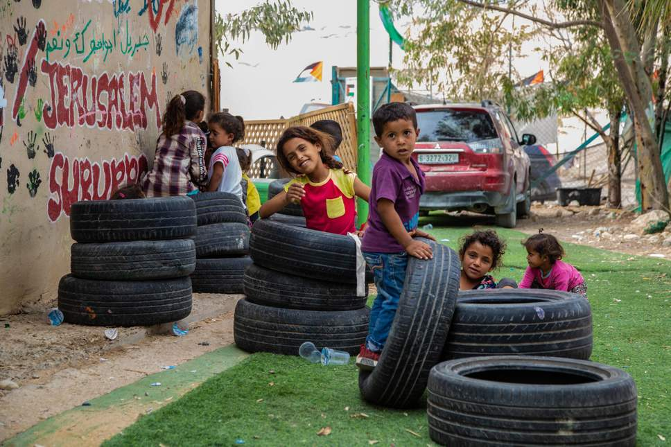 Palestinian children play in the school of Khan al-Ahmar which Israel has ordered to be demolished ( Bel Trew )